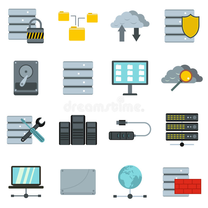Datenbankikonen eingestellt, flache Art stock abbildung