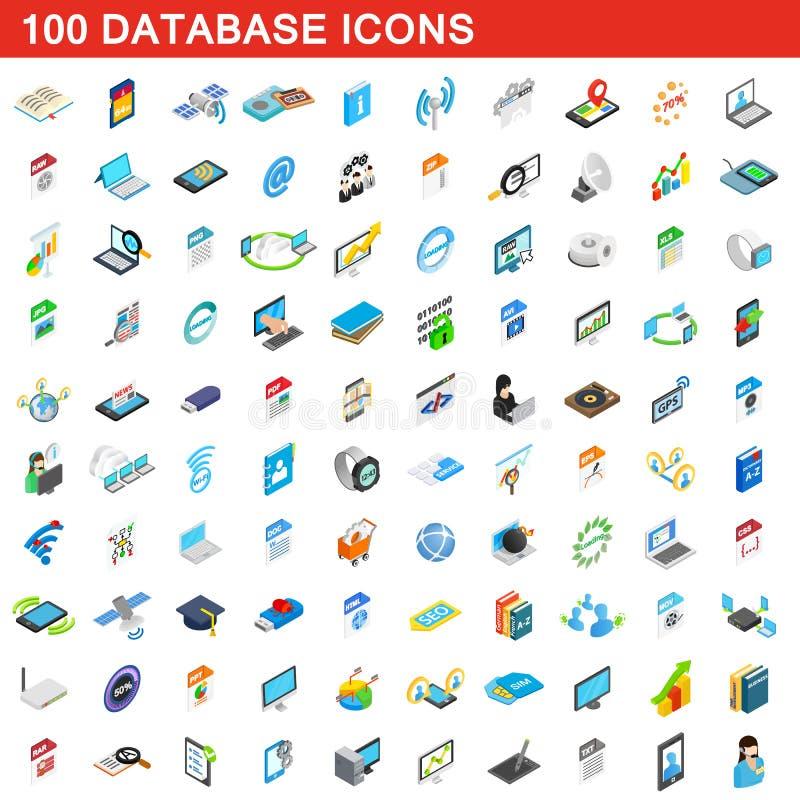 100 Datenbankikonen eingestellt, isometrische Art 3d lizenzfreie abbildung