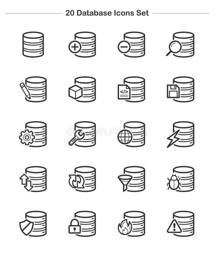 Datenbankikonen eingestellt, Strichstärkenikonen lizenzfreie abbildung