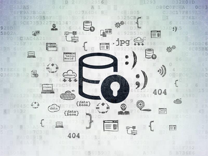 Datenbankkonzept: Datenbank mit Verschluss auf Digital-Daten tapezieren Hintergrund vektor abbildung