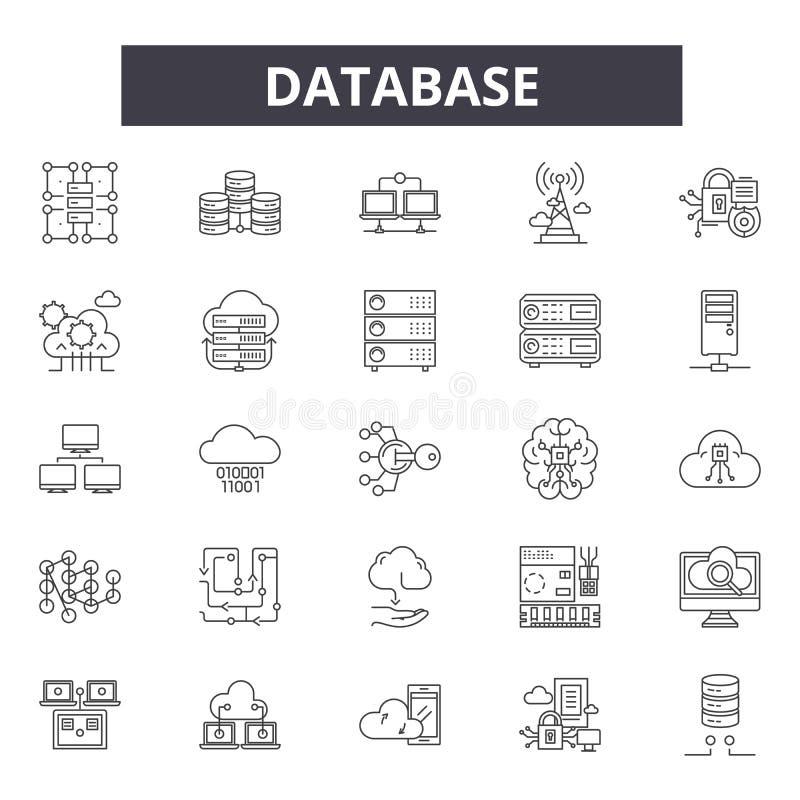 Datenbanklinie Ikonen, Zeichen, Vektorsatz, Entwurfsillustrationskonzept stock abbildung