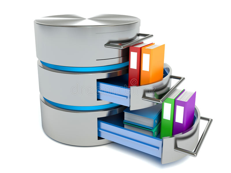 Datenbankspeicherkonzept Festplattenikone mit Ordnern stock abbildung