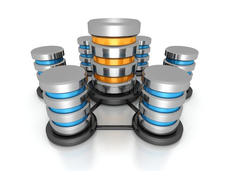 Datenbankvernetzungskonzept Metallfestplatten-Ikonennetz stockfoto