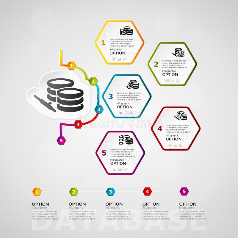Datenbankzeitachse infographics stock abbildung