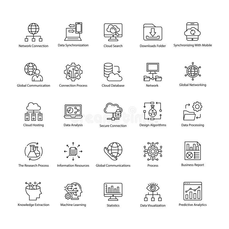 Datenerfassung Wissenschafts-Linie Vektor-Ikonen lizenzfreie abbildung