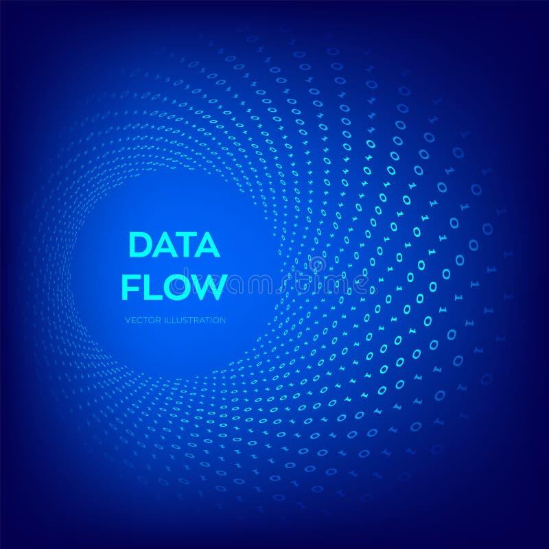 Datenfluss Nachricht 3d Binärer Datenfluss Große Daten Virtuelle Tunnelverzerrung Kodierung, Konzept programmierend oder zerhacke lizenzfreie abbildung