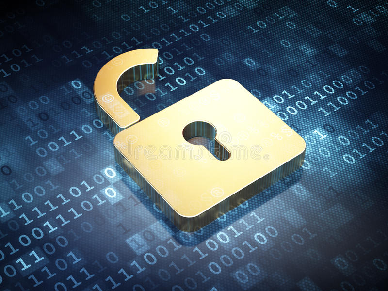 Datenkonzept: Goldenes geöffnetes Vorhängeschloß auf digitalem
