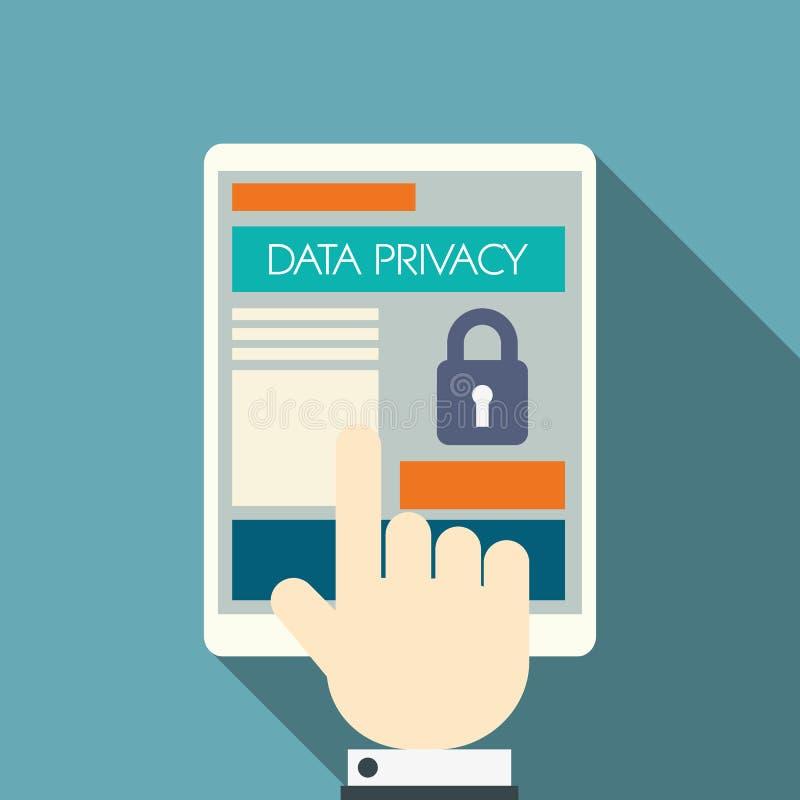 Datenschutz in Komputertechnologie der Wolke mit stock abbildung