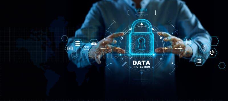 Datenschutz-Privatlebenkonzept GDPR EU Internetsicherheitsnetz Schützende Datenpersönliche information des Geschäftsmannes stockfoto