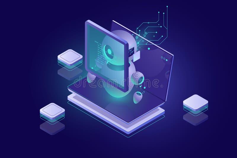 Datenschutzsicherheit, Schadsoftwareüberprüfung, Virusentdeckung, Authentisierung und Ermächtigung durch biometrischen Parameter stock abbildung
