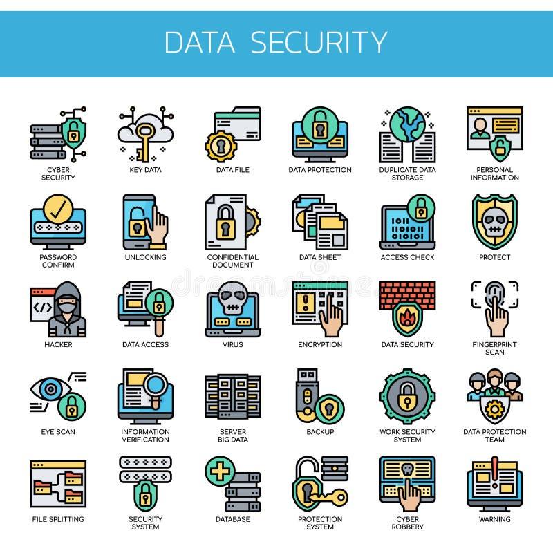 Datensicherheit, Pixel-perfekte Ikonen stockbild