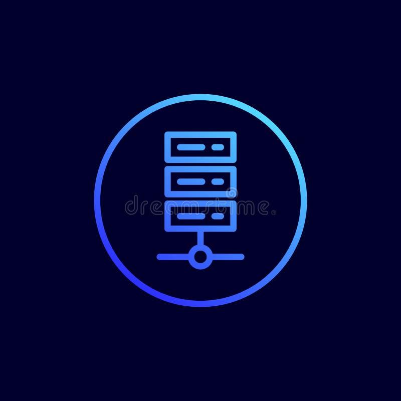 Datenspeicherungsikone Vektorillustration in der flachen Linie Art stock abbildung
