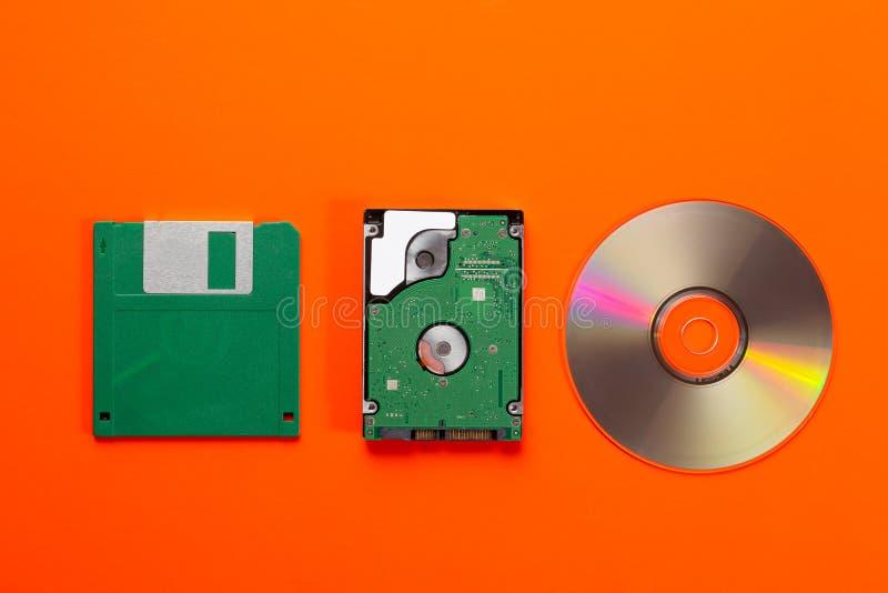 Datenspeicherungsspeichermediumentwicklung - Diskette, CD Scheibe, kleines Festplattenlaufwerk auf orange Hintergrund Beschneidun stockbild