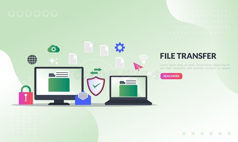Datenumspeicherungskonzept, Dateien zwischen Geräten mit Ordnern auf Schirm und übertragenen Dokumenten teilend, Sicherungsdateie stockbild