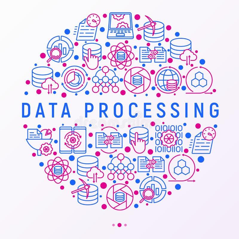 Datenverarbeitendes Konzept im Kreis stock abbildung