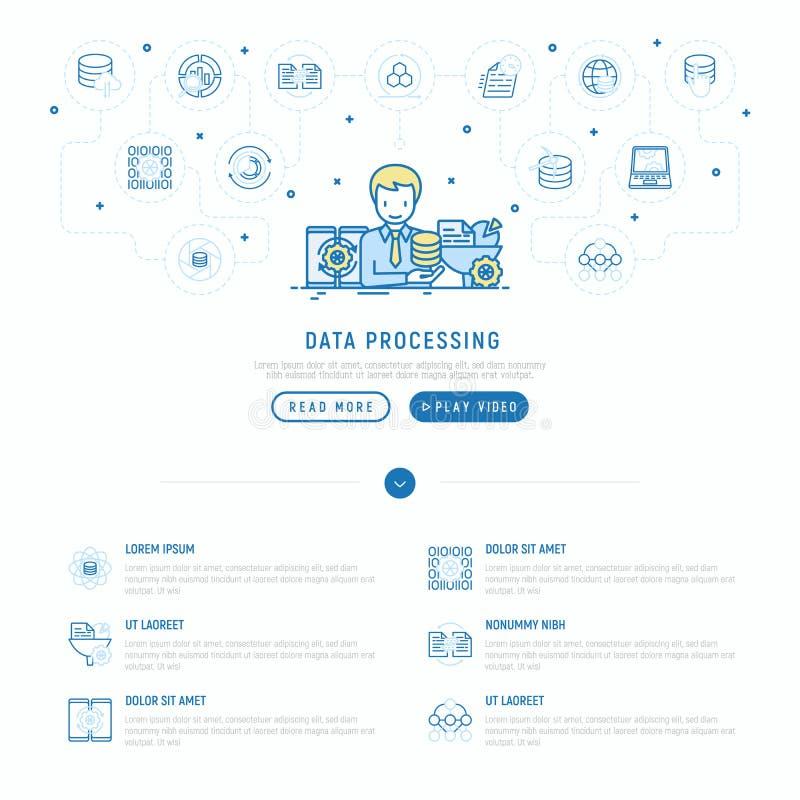 Datenverarbeitung: smm Manager analysiert Daten stock abbildung