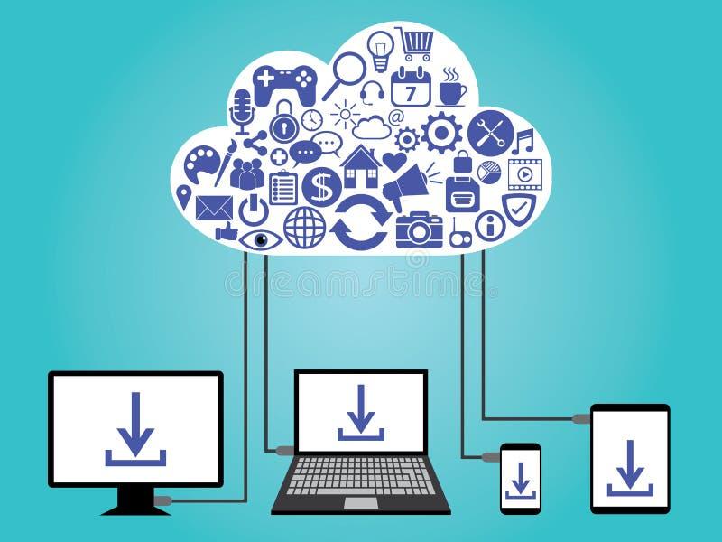 Datenverarbeitungsdatenspeicherung der Wolke lizenzfreie abbildung