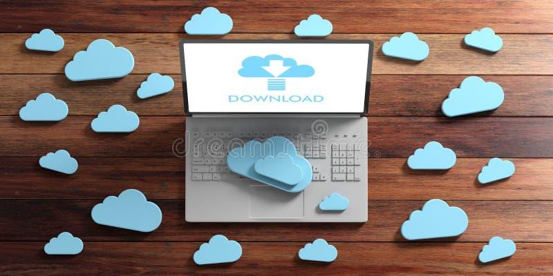 Datenverarbeitungsdownload der Wolke Computer und blaue Wolken auf hölzernem Hintergrund Abbildung 3D stock abbildung
