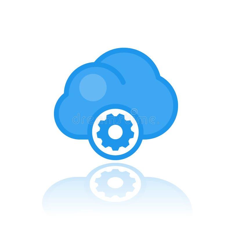 Datenverarbeitungsikone der Wolke in der flachen Art stock abbildung
