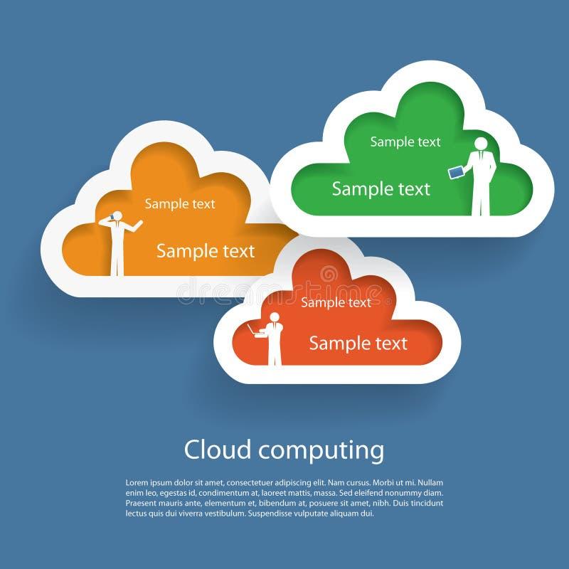 Datenverarbeitungsikonen der Wolke stock abbildung