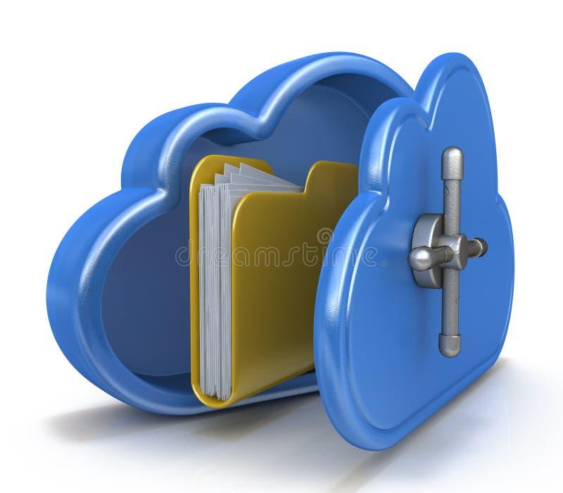 Datenverarbeitungskonzept der sicheren Wolke und ein Dateiordner stock abbildung