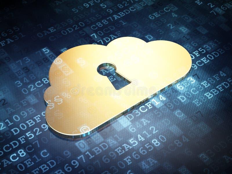 Datenverarbeitungskonzept der Wolke: Goldene Wolke mit Schlüsselloch