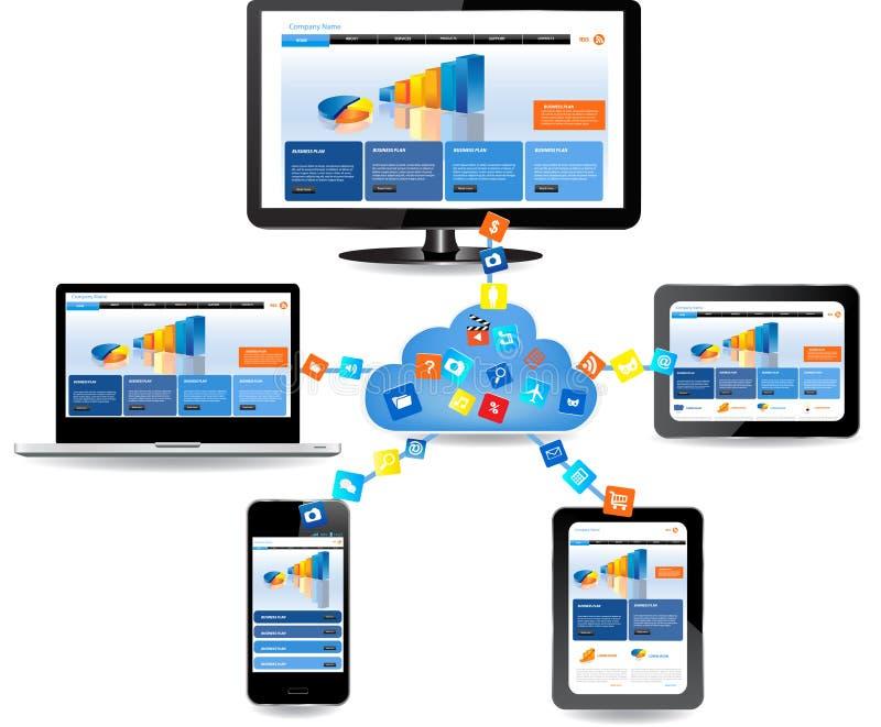 Datenverarbeitungskonzeptdesign der Wolke lizenzfreie abbildung