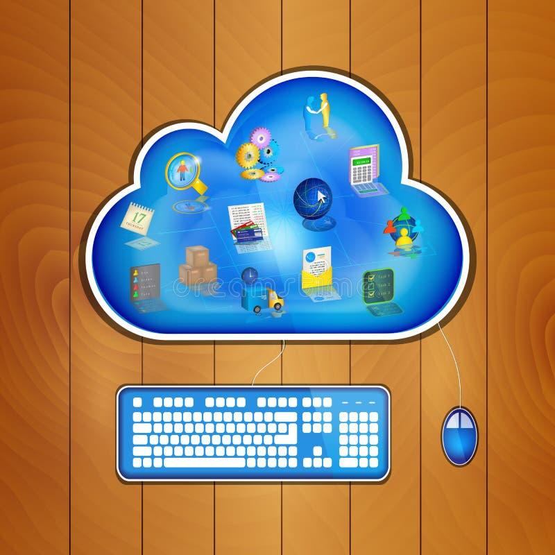 Datenverarbeitungslösung der Wolke für Geschäftskonzept stock abbildung