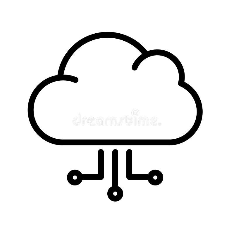 Datenverarbeitungslinie Ikone der Wolke lizenzfreie abbildung