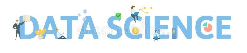 Datenwissenschaft Konzept mit Leuten, Buchstaben und Ikonen Flache Vektorillustration Getrennt auf wei?em Hintergrund lizenzfreie abbildung