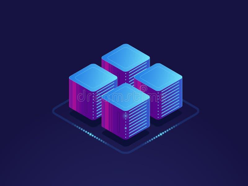 Datenwissenschaftskonzept, digitale Informatik, Serverraum, Wolkenspeicher isometrisch vektor abbildung