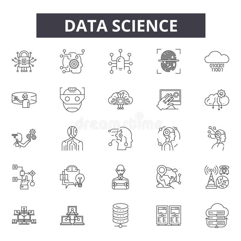 Datenwissenschaftslinie Ikonen, Zeichen, Vektorsatz, Entwurfsillustrationskonzept vektor abbildung