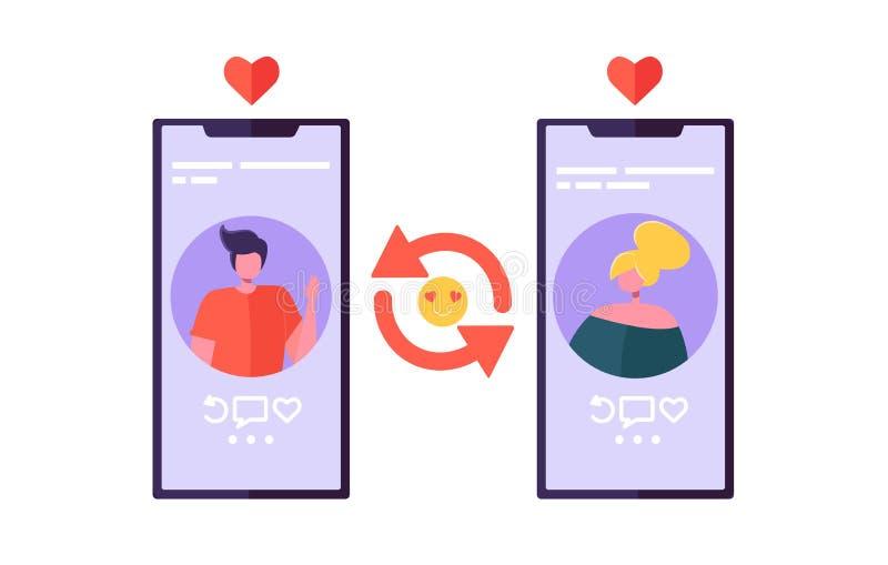 Dater en ligne causent l'appli pour la connexion Romance Caractères d'homme et de femme flirtant sur l'écran de Smartphone Commun illustration de vecteur