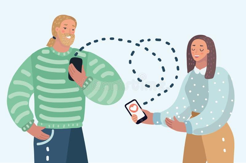 Dater pratiquement des couples illustration de vecteur