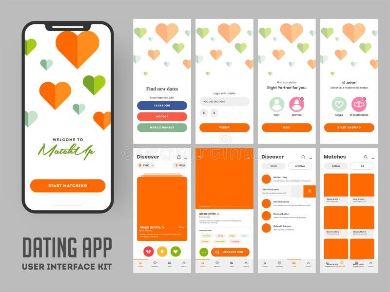 Datera appanvändargränssnittorienteringen för svars- mobil app royaltyfri illustrationer
