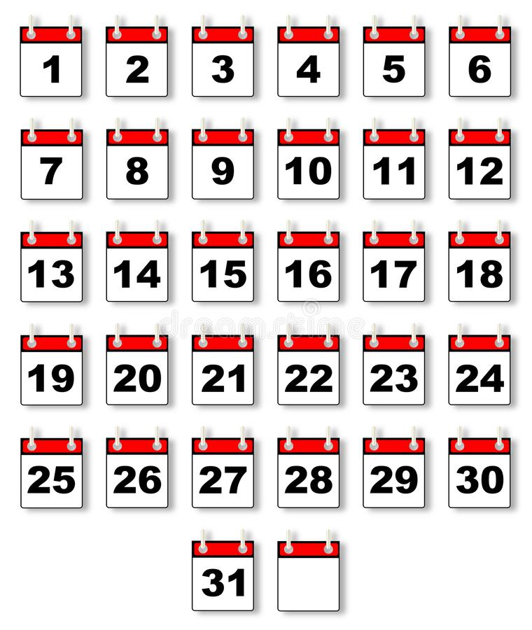 Dates From A Calendar. A collection of calendar dates over a white background royalty free illustration