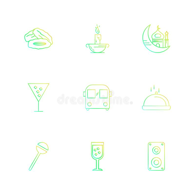 Dates , candle , mosque , glass , bus , dish , lollypop , glass, drink , speaker , eps icons set vector. Dates , candle , mosque , glass , bus , dish , lollypop royalty free illustration