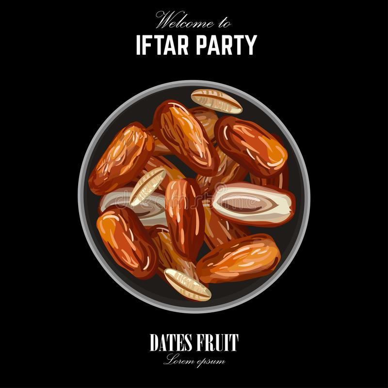 Dates for Iftar Party. Hand drawn. Vector illustration of dried dates Ramadan Iftar food on the plate. Isolated background. Flat design royalty free illustration