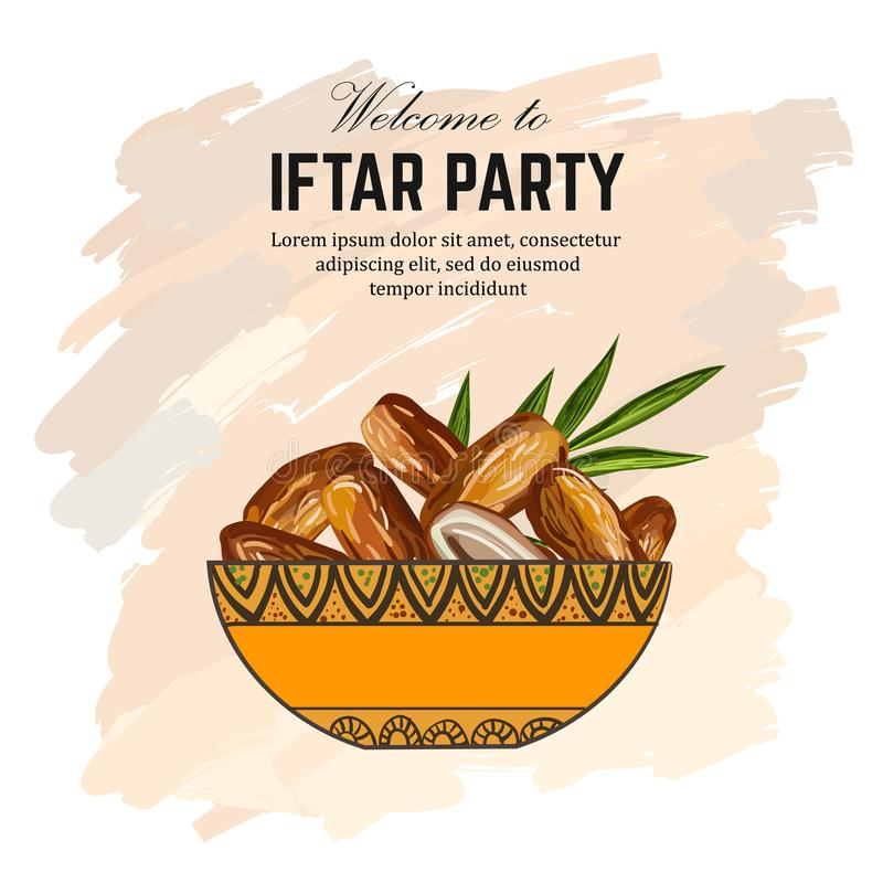 Dates for Iftar Party. Hand drawn. Vector illustration of dried dates Ramadan Iftar food in the plate royalty free illustration