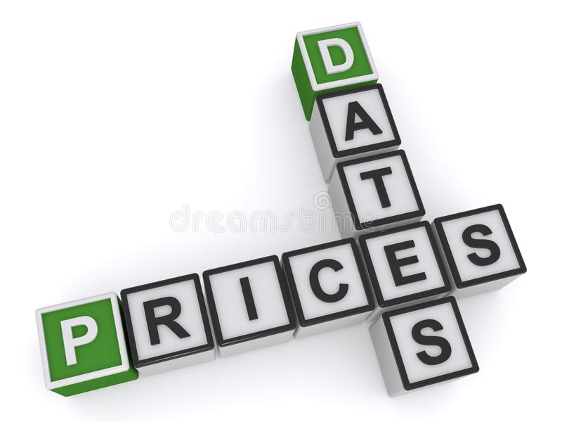 Dates prices illustration. Dates and prices illustrated in 3D plastic toy blocks spelled crossword puzzle style on white stock illustration