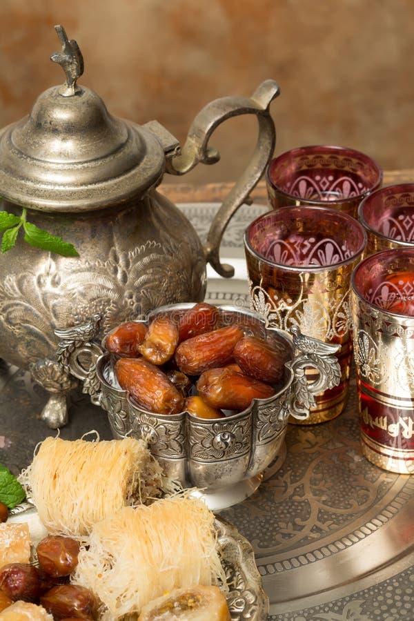 Dates and tea for Ramadan royalty free stock photos