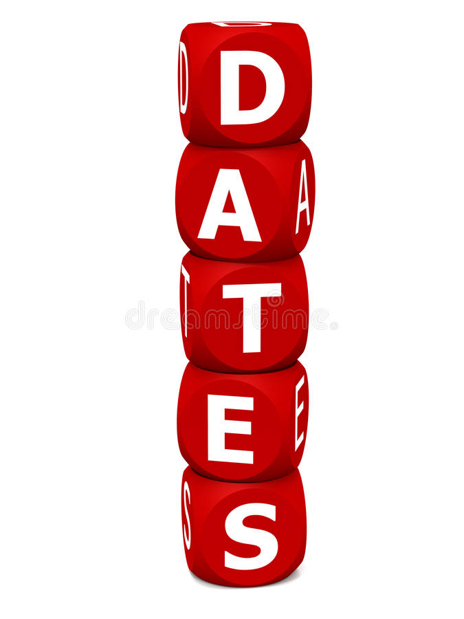 Dates. Word on white background, concept of saving the date or calendar based events royalty free illustration