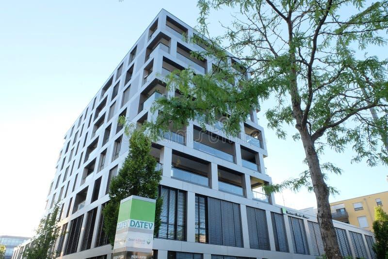 Datevhoofdkwartier die München inbouwen stock foto's