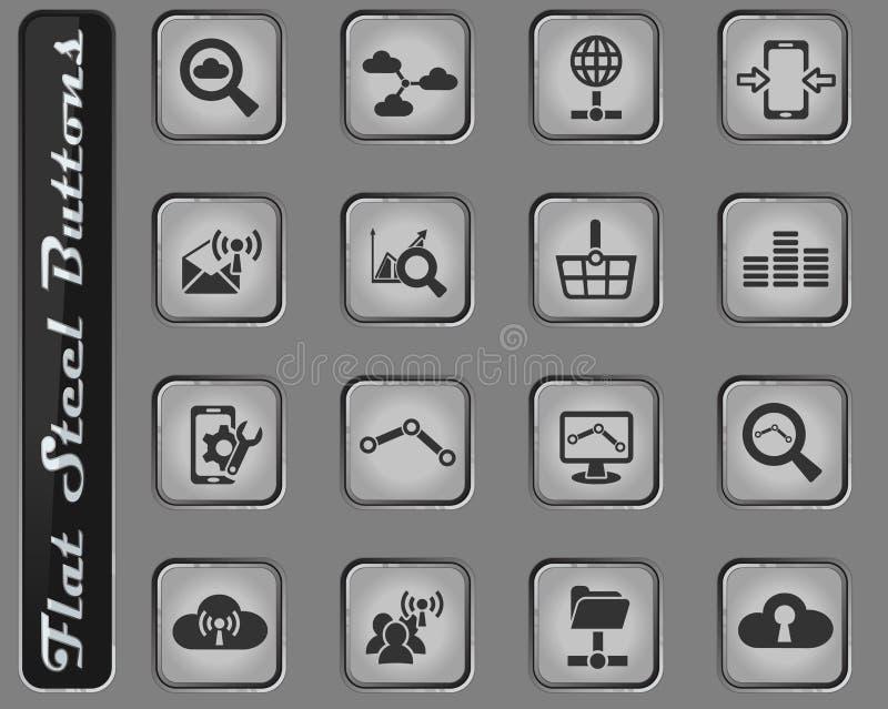 Dati analitici ed insieme dell'icona della rete sociale illustrazione vettoriale
