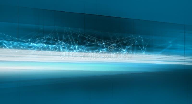 Dati astratti grafici del fondo di tecnologia che trasferiscono con le linee serie del collegamento di concetto illustrazione di stock
