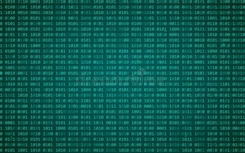 Dati binari di Digital e scorrere il fondo di codice binario Fondo della matrice con le cifre 1 Illustrazione di vettore illustrazione di stock