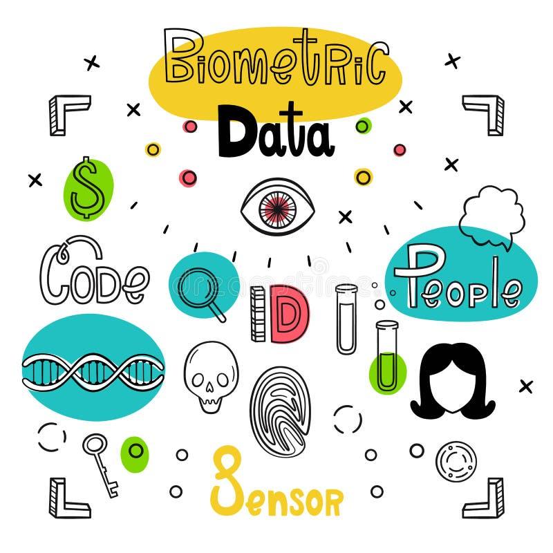 Dati biometrici Insieme di vettore delle icone e delle iscrizioni disegnate a mano Impronte digitali, DNA, bulbo oculare, provett illustrazione di stock