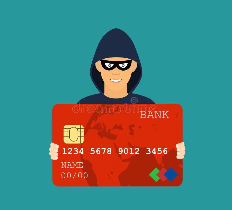 Dati che phishing, attacco della carta di credito del pirata informatico royalty illustrazione gratis