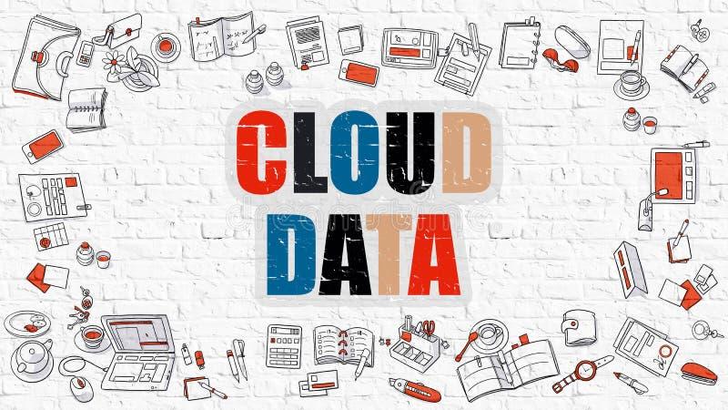 Dati della nuvola in multicolore Progettazione di scarabocchio illustrazione vettoriale
