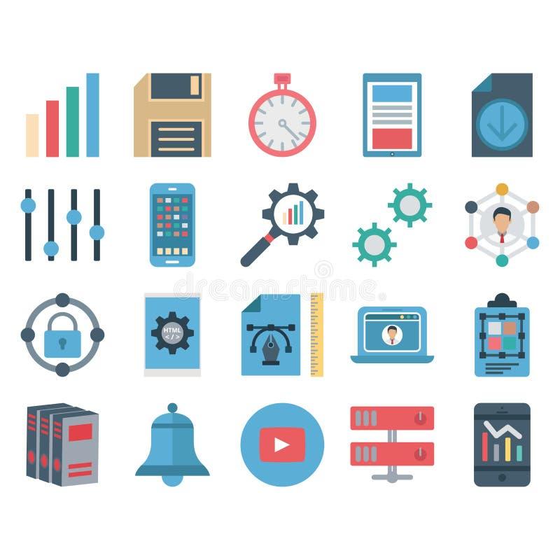 Dati di web, progettazione ed icone isolate vettore di sviluppo illustrazione di stock